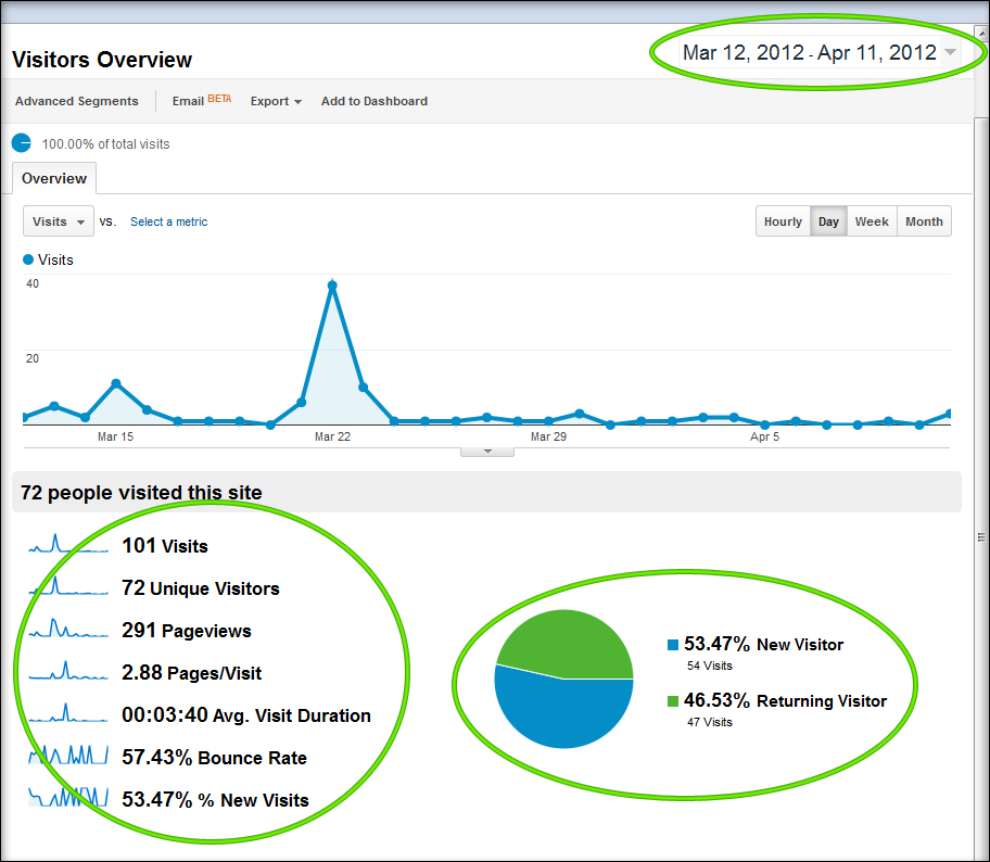 Google Analytics Visitors Overview